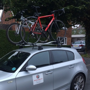 Picture of two bikes on the car roof